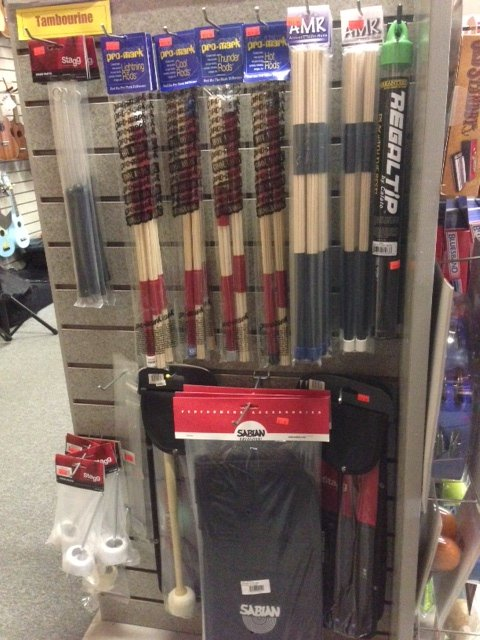 Drum accessories, rods, brushes, bags etc.