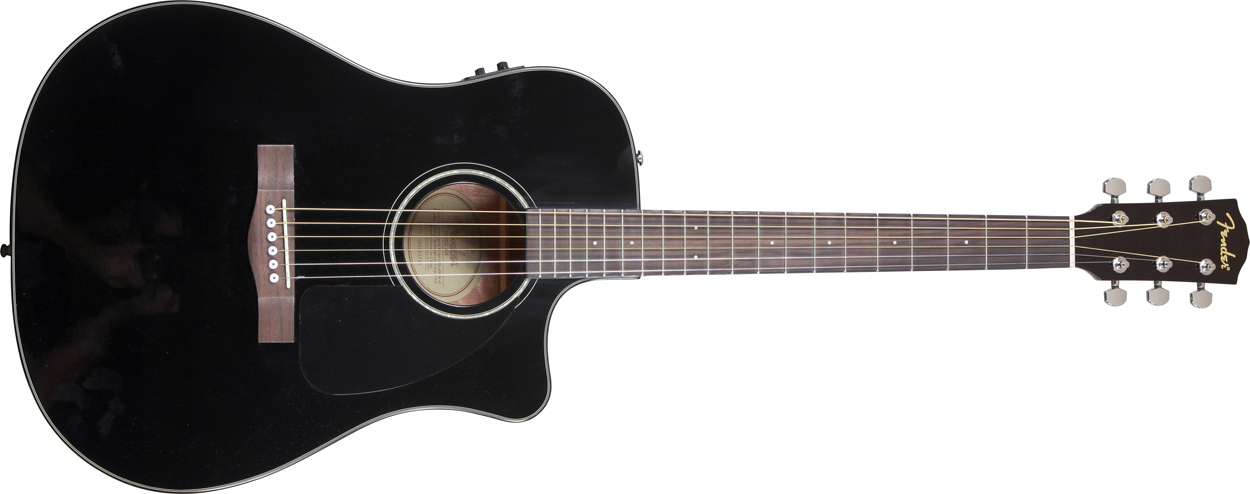 Fender CD60CE acoustic electric guitar with case black